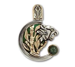кулон тигр из серебра с золотом