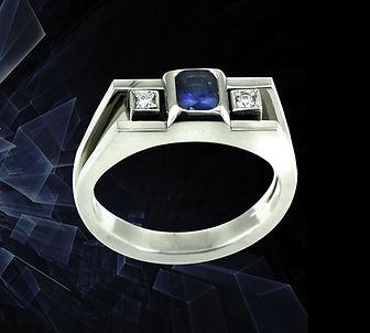 кольцо из белого золота с сапфиром арт-студия ювелир