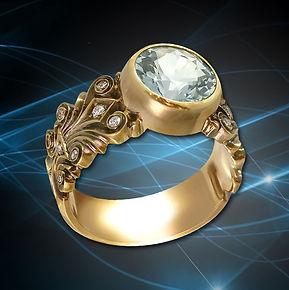 кольцо из золота голубой топаз