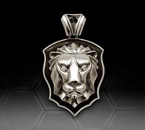 серебряный кулон Лев