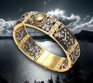 золотой браслет с желтым бриллиантом