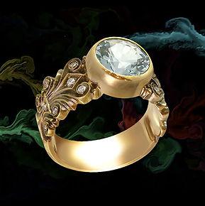 золотое кольцо в винтажном стиле с голубым топазом
