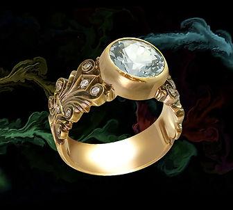 золотое кольцо с голубым топазом арт-студия ювелир