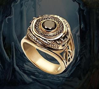 кольцо с черными бриллиантами