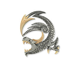 кулон дракон из серебра с золотом