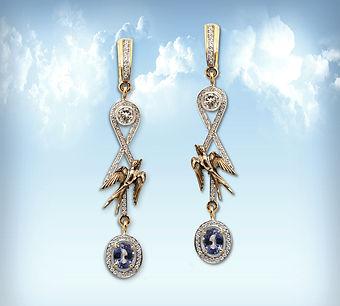 экскоюзивные золотые серьги с сапфирами и бриллиантами