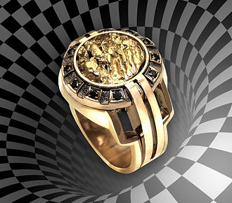 кольцо с золотым самородком