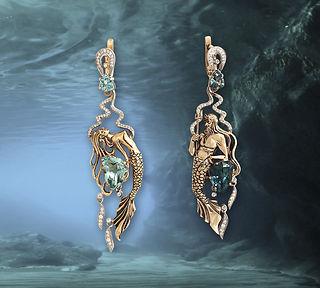 оригинальные золотые серьги с драгоценными камнями