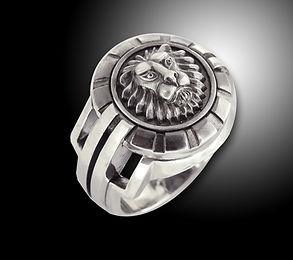 кольцо лев из серебра
