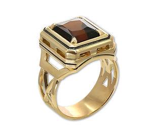 мужской золотой перстень с турмалином