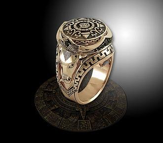 золотое мужское кольцо амулет