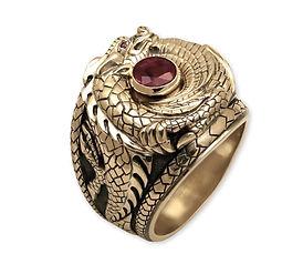 золотой перстень с драконом и рубином