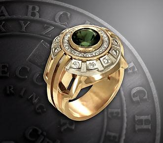 мужское золотое кольцо с турмалином