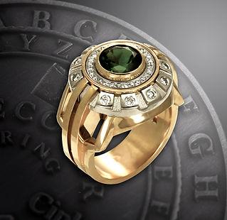 эксклюзивный мужской перстень с турмалином
