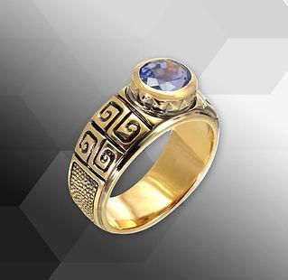 золотое кольцо с натуральным сапфиром