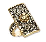 Золотое кольцо с жёлтым бриллиантом