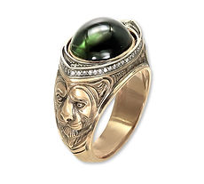 мужской перстень с турмалином
