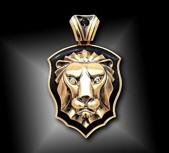 кулон лев из золота с эмалью арт-студия ювелир