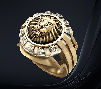мужская печатка со львом
