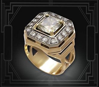 золотое мужское кольцо с крупным бриллиантом