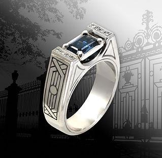 мужское кольцо из белого золота