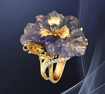 эксклюзивное золотое коктейльное кольцо