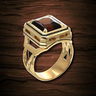 золотое кольцо с коричневым турмалином
