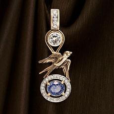 золотой кулон с сапфиром и бриллиантами