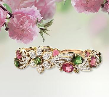 золотой браслет с турмалинами и бриллиантами