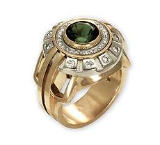 золотой мужской перстень с турмалином