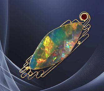 золотая брошь с опалом