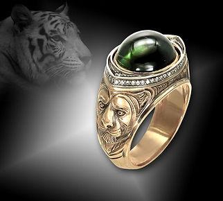 золотой перстень тигр