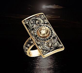 золотое кольцо с желтым бриллиантом