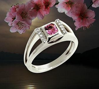 кольцо из белого золота с розовой шпинелью арт-студия ювелир
