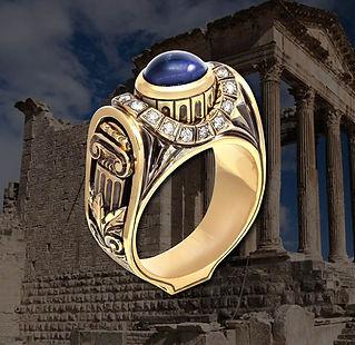роскошный мужской перстень с сапфиром