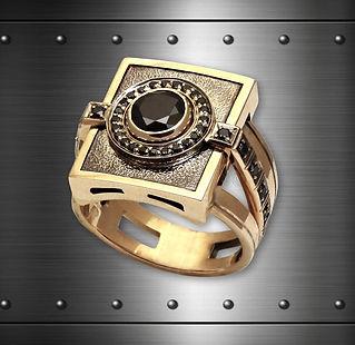 мужская печатка из золота с бриллиантом