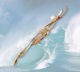 золотая брошь рыбка с жемчугом