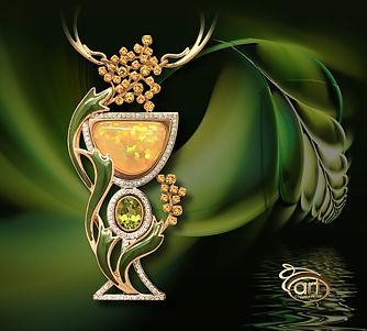 дорогое золотое колье с опалом