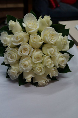 White rose bridal bouquet with camelia leaf.jpg