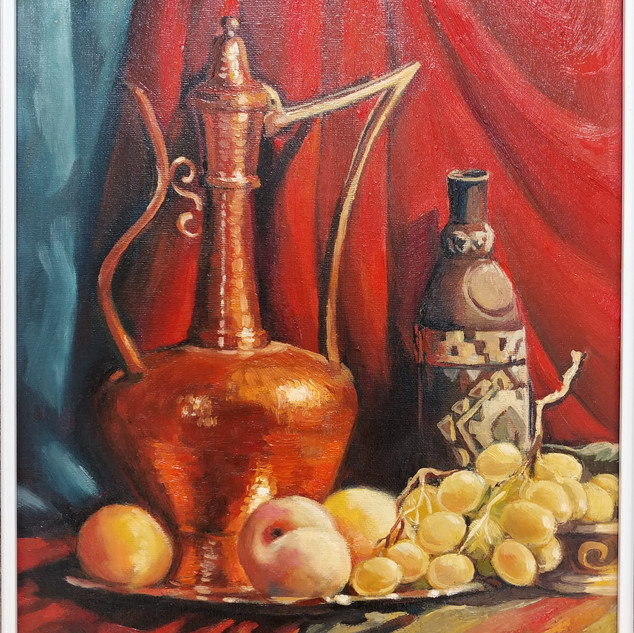 Naturemort - Oil Lamp and Fruit