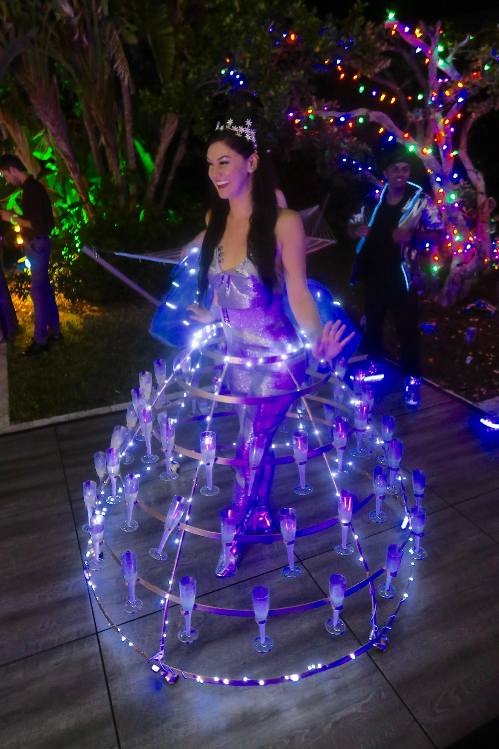 An LED twist on our strolling champagne table, a crowd favorite