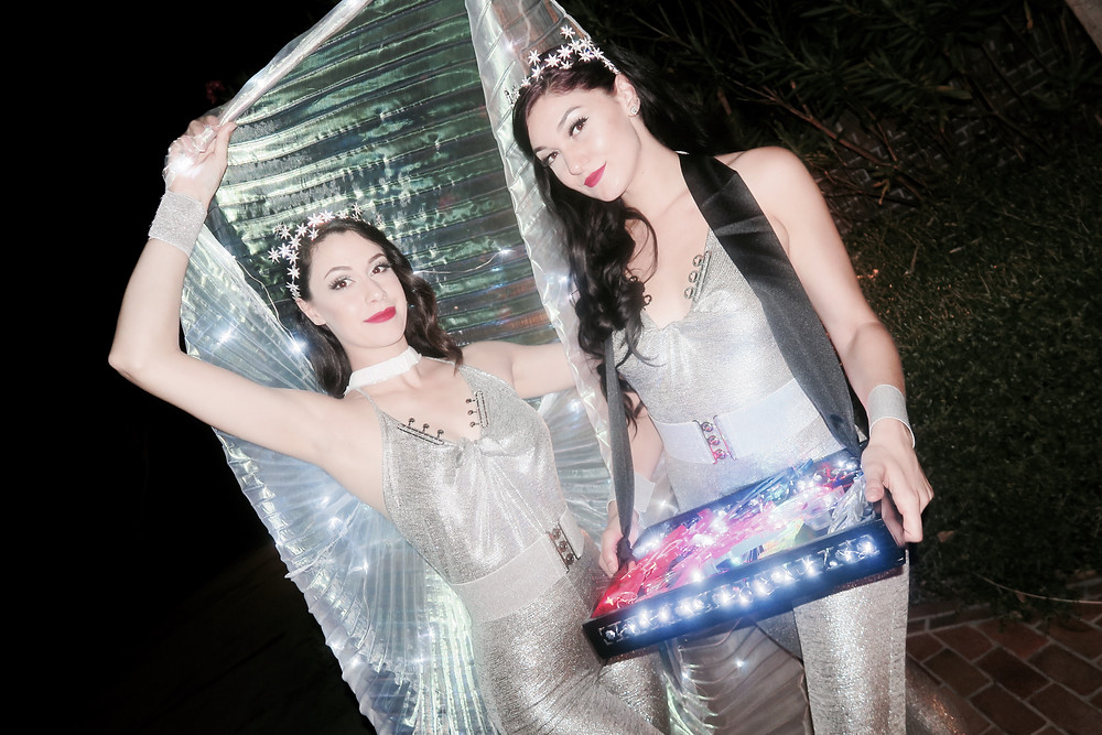 Gorgeous party motivators with LED wings and cigarette tray