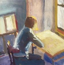 Girl at a Table 19x19cms oil on card.jpeg