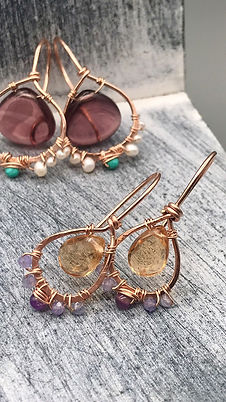 Sarah amehyst turquoise and pearl earrin