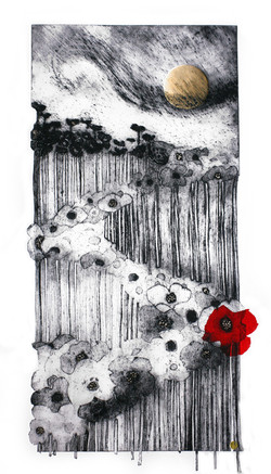 Scott Durrant_Tania_Collagraph_Far and wide in a scarlet tide94x52cms