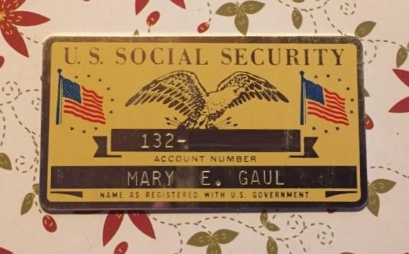 Mary E Harvey aluminum social security card