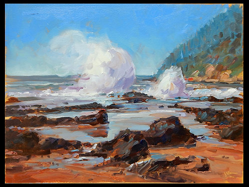 """Crashing Waves 9x12"""" Oil Painting on Paper"""
