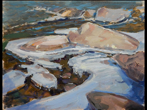 "Ice Rocks - 11x14"" Original Oil Painting"