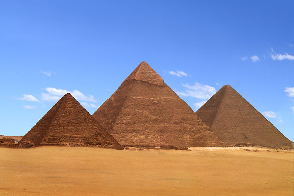 A view of the pyramids at Giza from the
