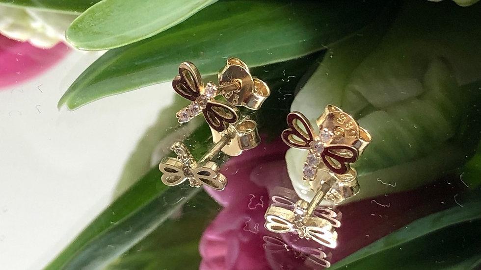 Kolczyki złote ważka